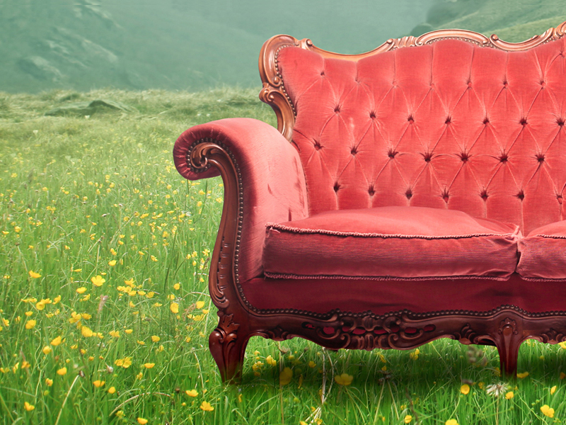 Sofa in a field