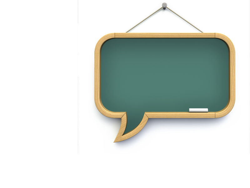 Blackboard in shape of chat icon